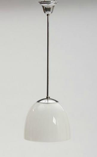 """Delta klokkependel"". Two opal glass pendants with chrome fittings."