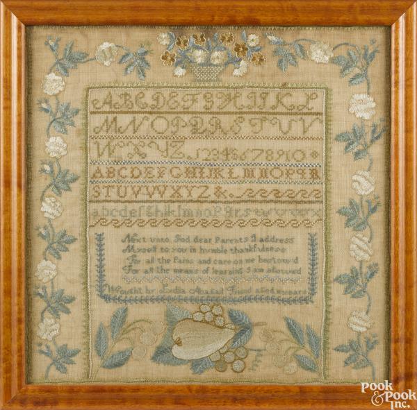 Massachusetts silk on linen sampler
