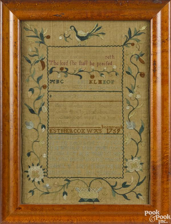 Philadelphia silk on linen sampler