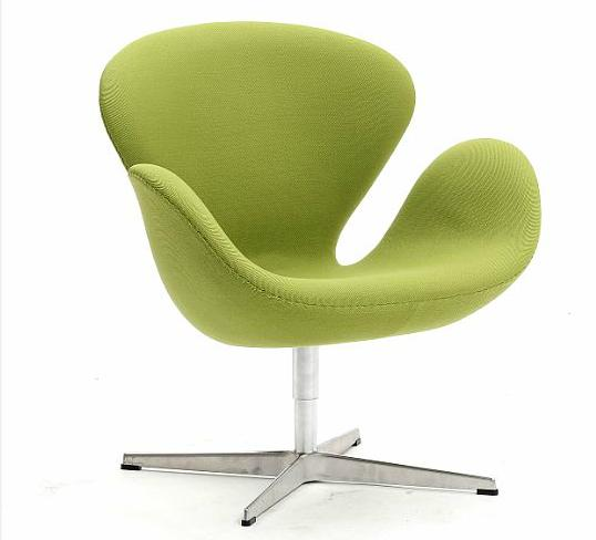 """""""The Swan"""". Lounge chair with return swivel, upholstered with mint green wool, on aluminum star base"""