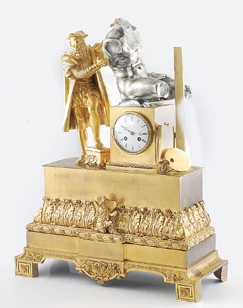 Fireplace clock with allegory arts