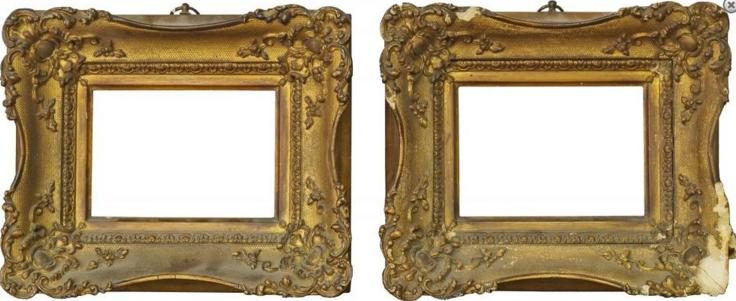 A Pair of Gilt Composition Louis XV Style Swept Frames