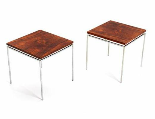 A pair of side tables with steel frame and Brazilian rosewood square top