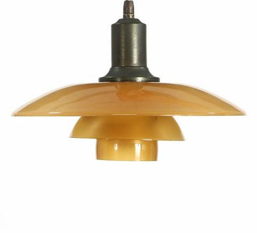 3/2 pendant with browned brass socket house. Shades of amber coloured glass