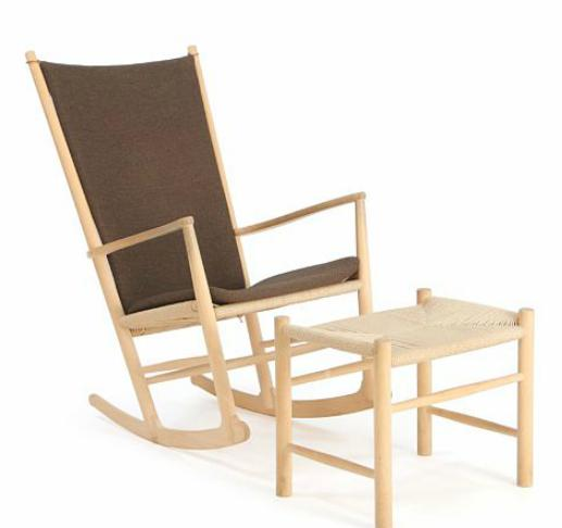 """""""J 16"""" og"""" J 16 F"""". Rocking chair and stool of beech. Seat with woven papercord"""