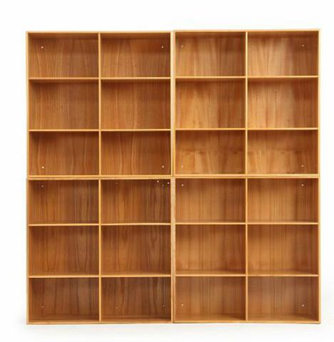 A set of four solid elm bookcases.