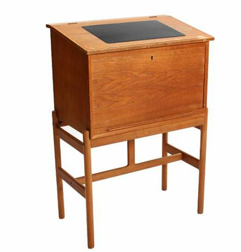 Oak writing desk, top with patinated black leather