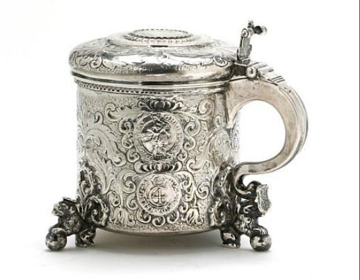 A silver peg tankard, Baroque style