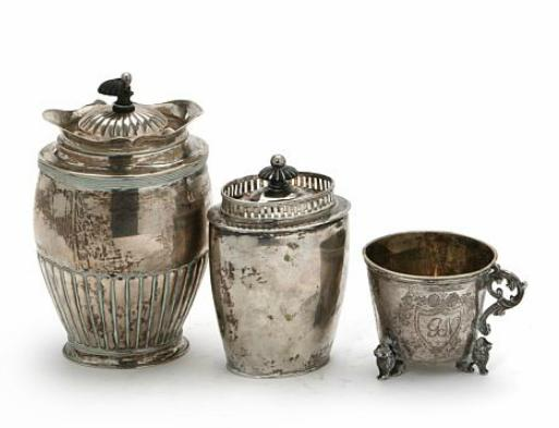 Two Danish Empire silver tea caddies