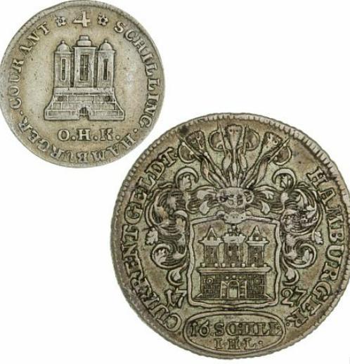 Germany, Hamburg, 16 Schilling 1727, KM 369; 4 Schilling 1797, KM 512