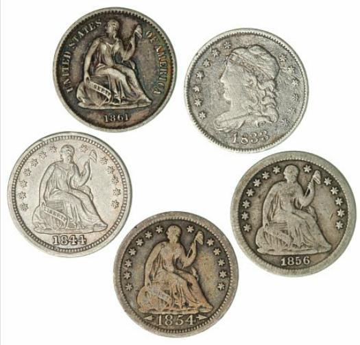 USA, Half-Dime 1833, 1844, 1854, 1856, 1861, KM 47, 62.2, 76, A62.2, 91