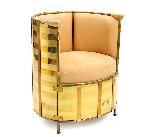 """""""El Dorado"""". A brass easy chair, handles of birch. Seat and back upholstered with natural leather"""