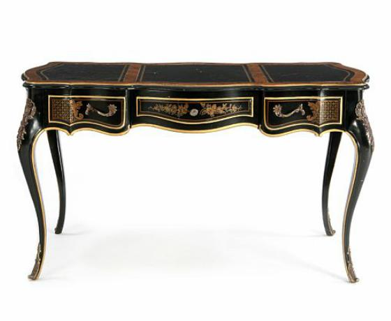 A small rootwood and black-lacquered rococo style desk
