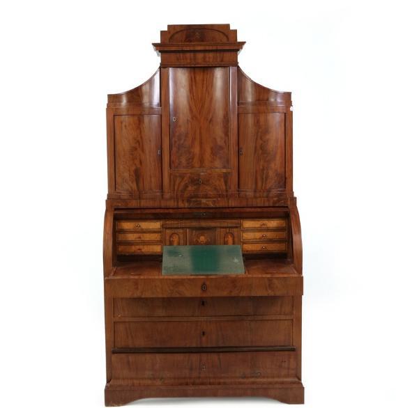 A Danish late empire mahogany cylinder bureau