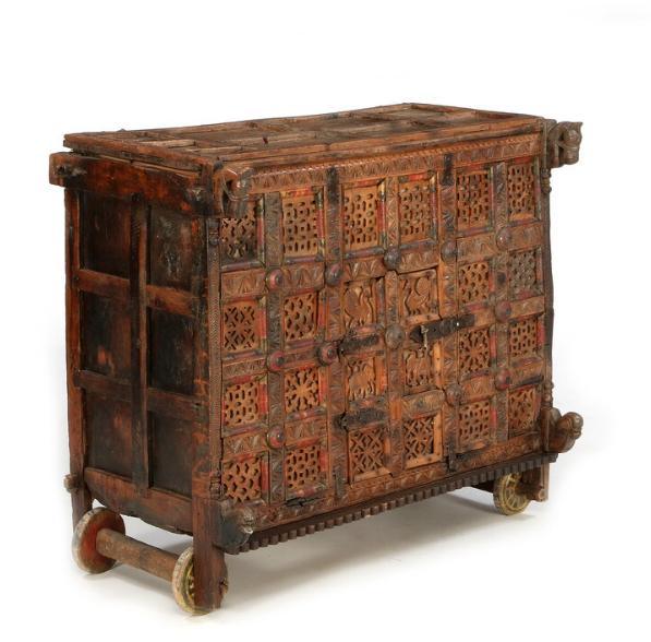 An Indian hardwood wedding chest