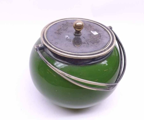 Late 19th/early 20th century green glass biscuit barrel, with silver plated mounts