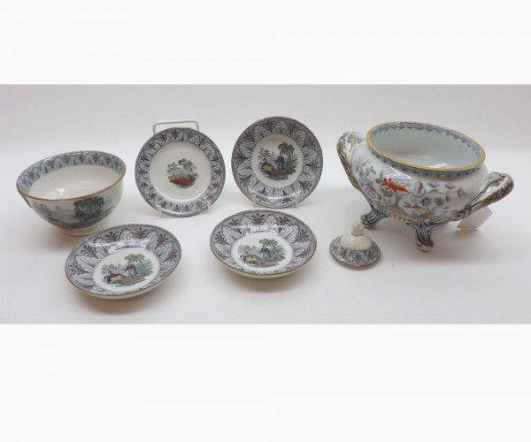 Mixed Lot: comprising 19th century ironstone sauce tureen, decorated with floral sprays together with further small 19th century