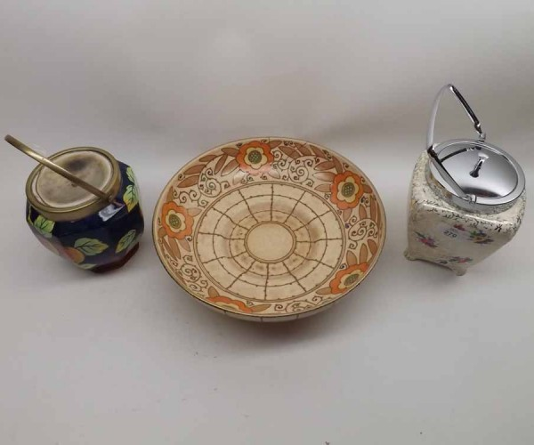 Mixed Lot: Bursley ware Charlotte Rhead circular floral decorated dish (repaired), and two further early 20th century biscuit ba