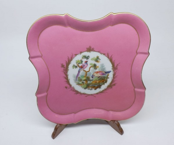 19th century Vienna cabinet porcelain tray, decorated with central panel of birds amongst foliage on a pink and gilt highlighted