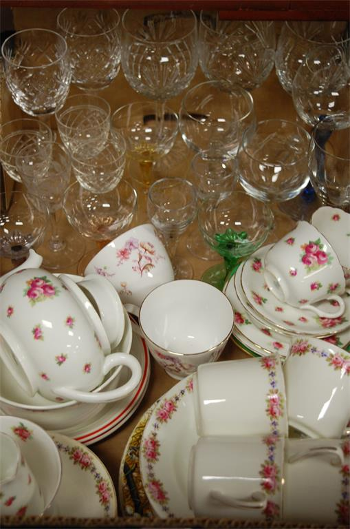 A box of miscellaneous china and glass ware to include; Royal Doulton part tea service