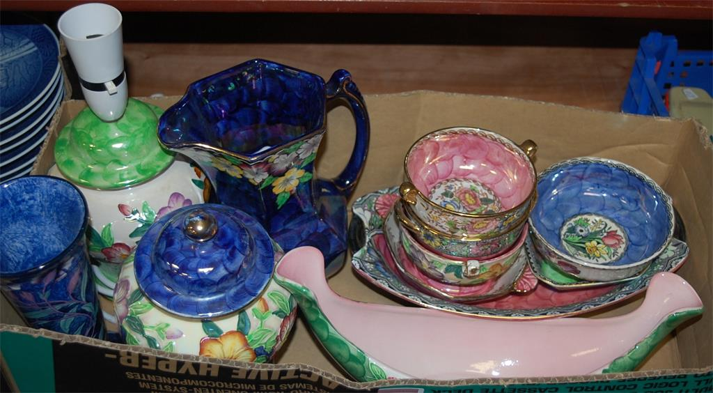 A box of assorted Maling lustre wares to include; boat shaped vase