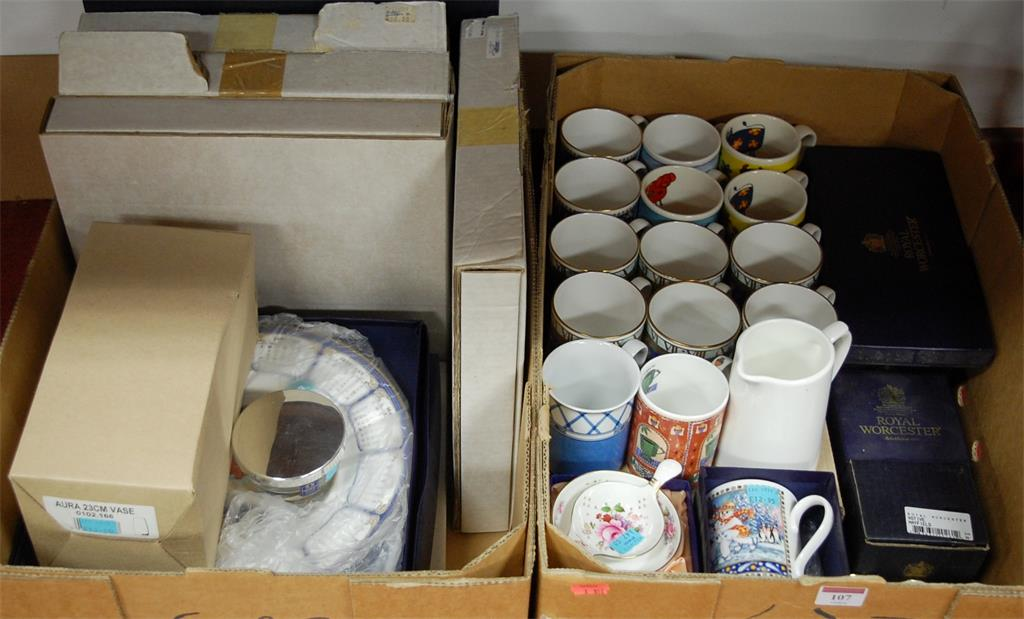 Two boxes of miscellaneous commemorative and other china to include