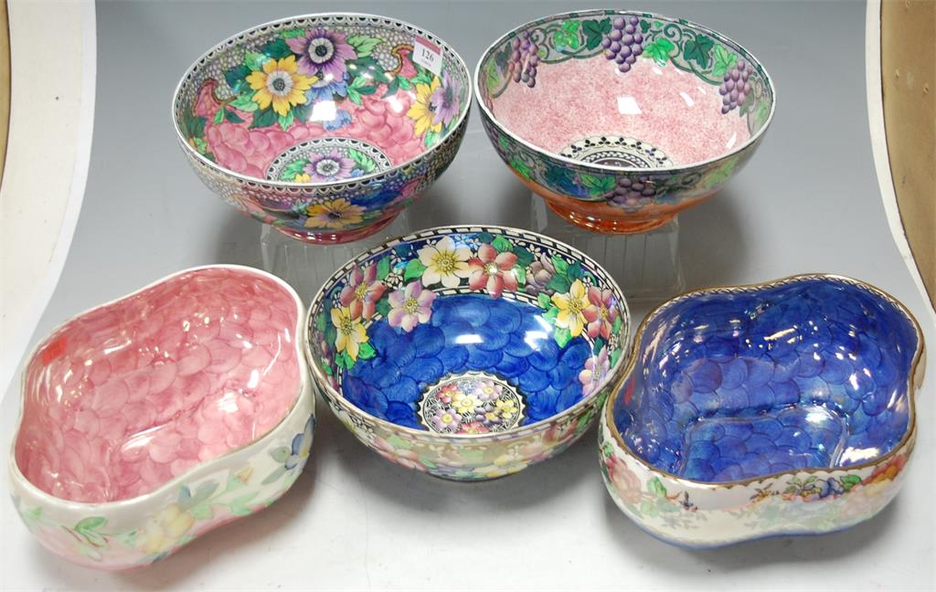 Three Maling lustre ware bowls, together with two others
