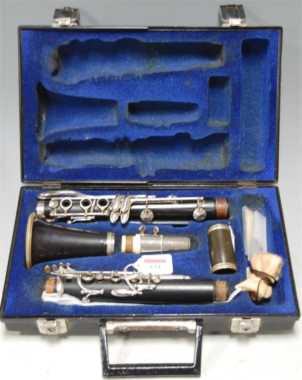 A cased Selmer clarinet