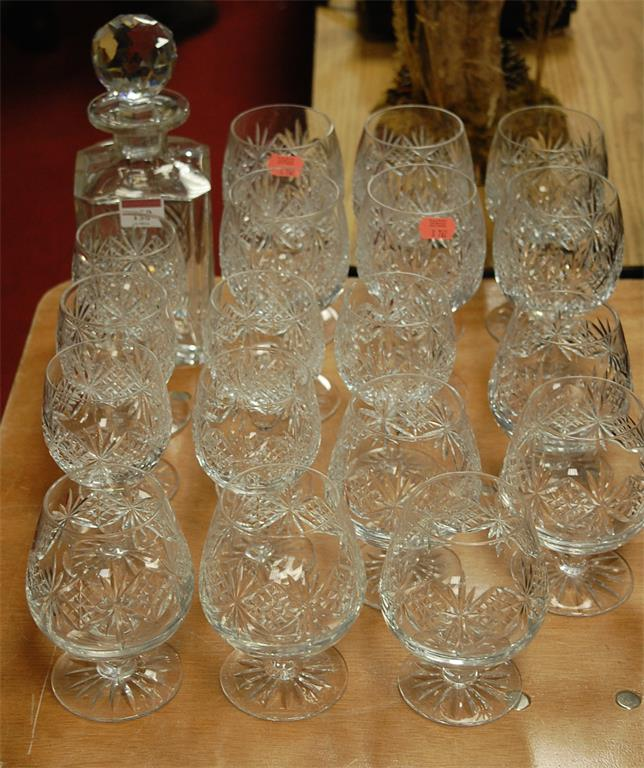 A suite of Thomas Webb cut glass ware to include