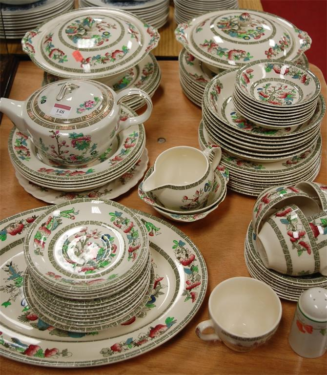 A Johnson Brothers part tea and dinner service in the Indian Tree pattern
