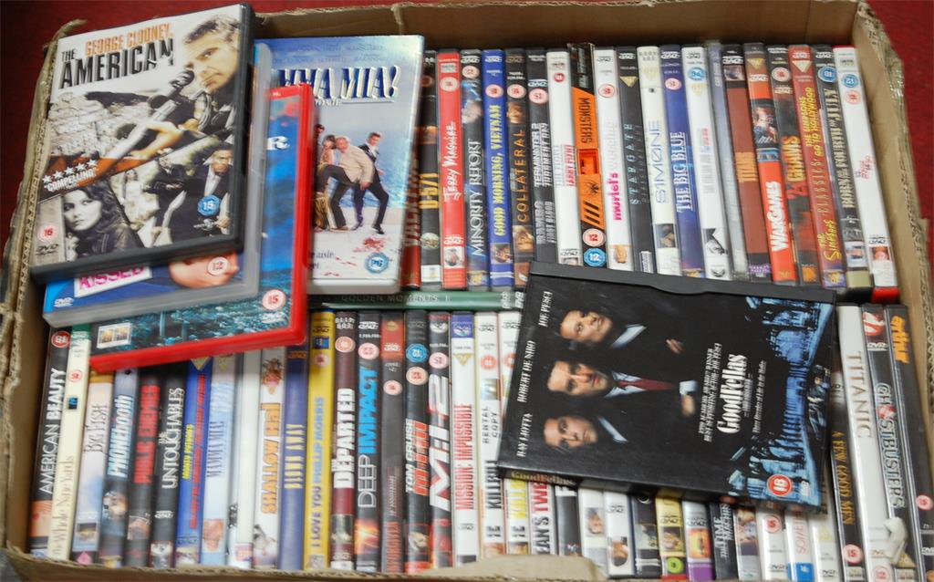 Two boxes of assorted DVDs