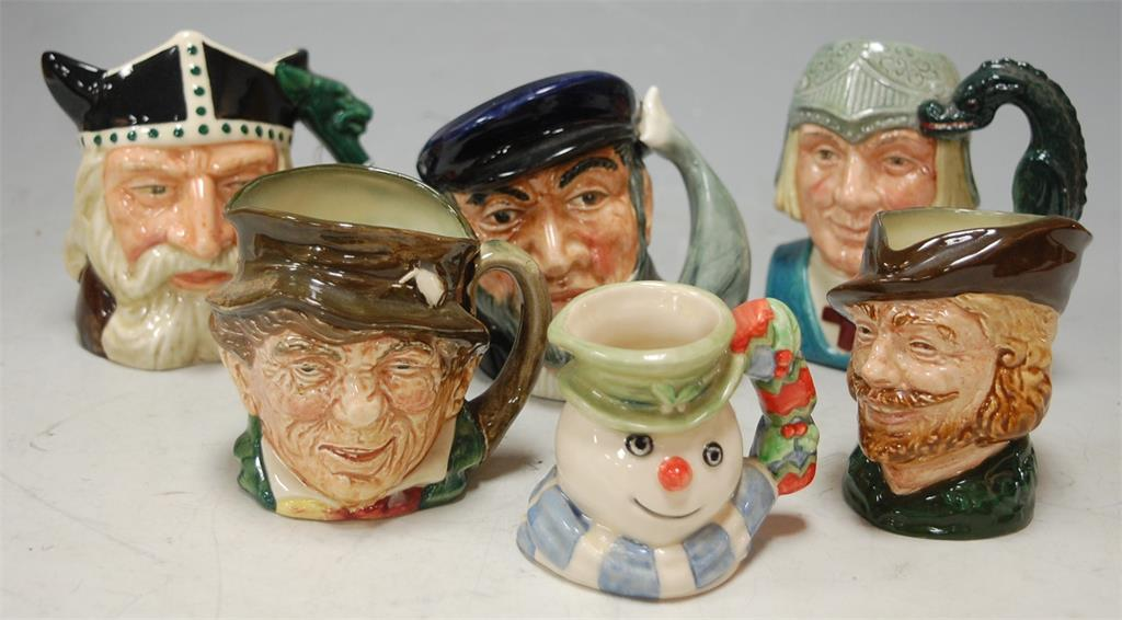 A collection of six Royal Doulton character jugs to include; Viking D6502