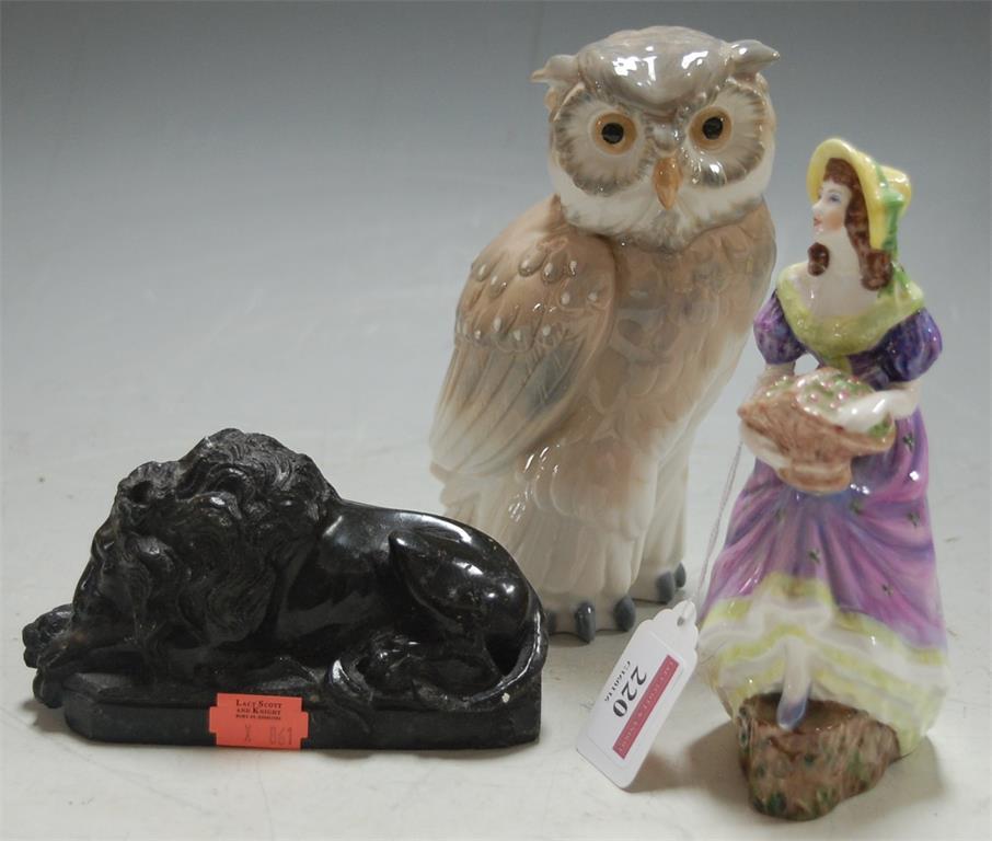 A Coalport figurine of Jennifer Jane; together with a Nao figure of an owl