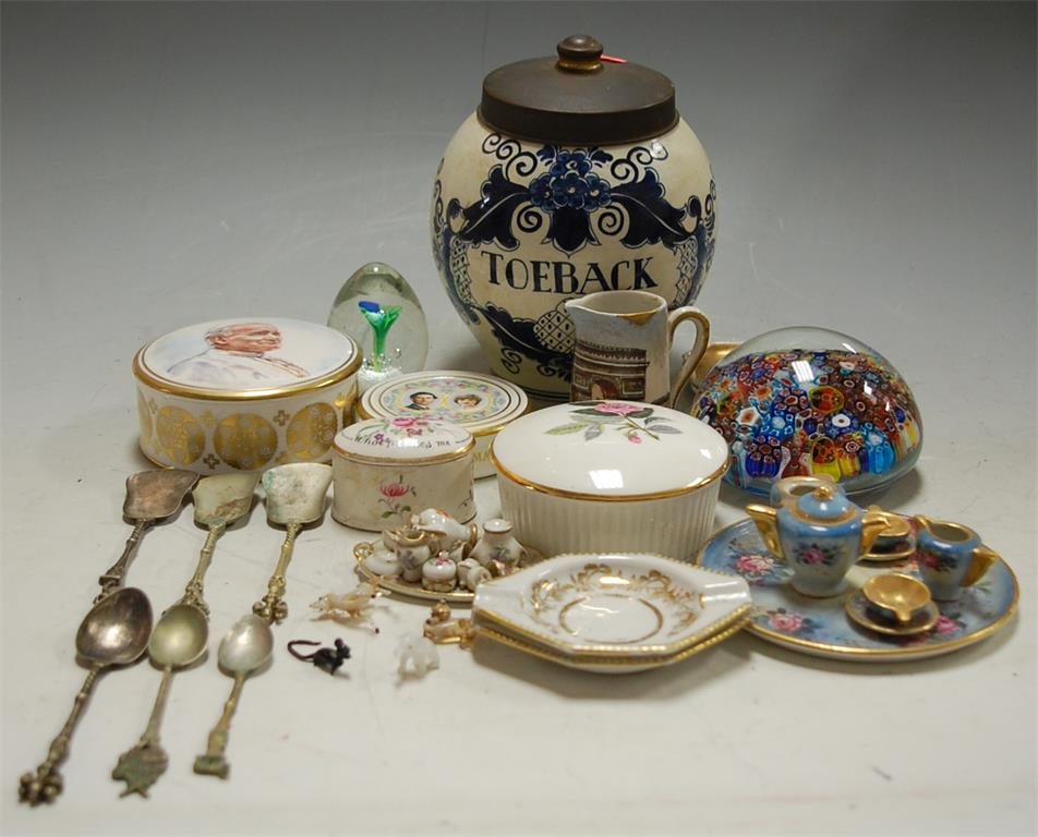A small collection of china and glassware to include; Delft tobacco jar and cover