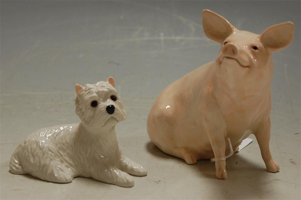 A Beswick figure of a pig; together with a Beswick West Highland Terrier