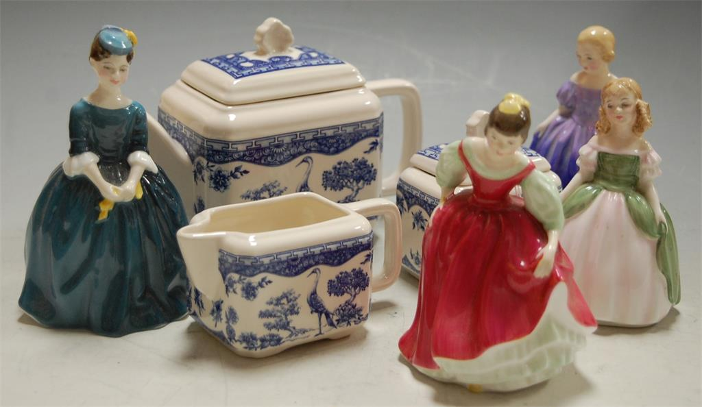 Four miniature Royal Doulton figurines to include; Fair Maiden HN2434, Marie HN1370
