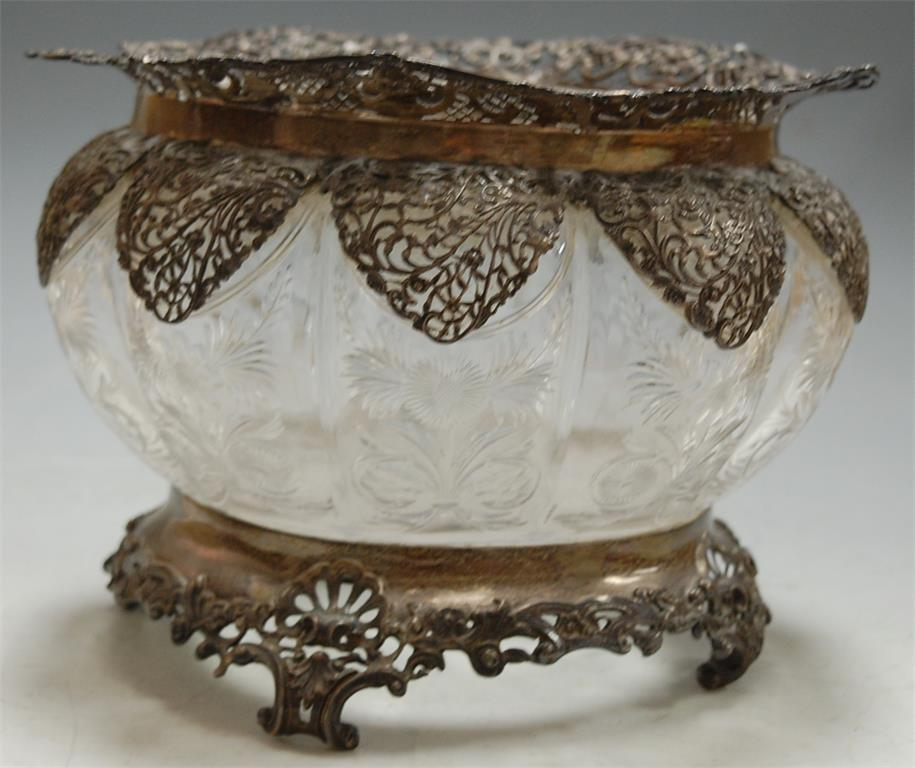 An Edwardian cut glass and silver mounted bowl