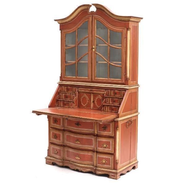 An 18th century painted Baroque bureau bookcase