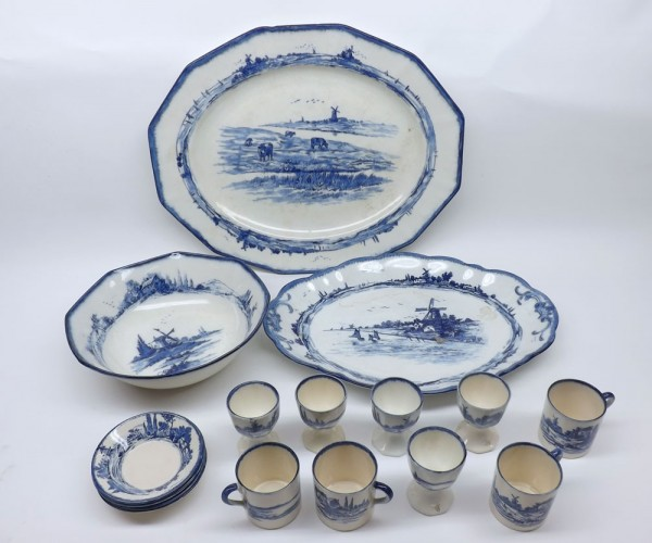 Mixed Lot: Royal Doulton Norfolk wares, comprising two meat plates, octagonal bowl, six eggcups and a selection of coffee cans a