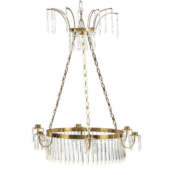 A six light crystal chandelier
