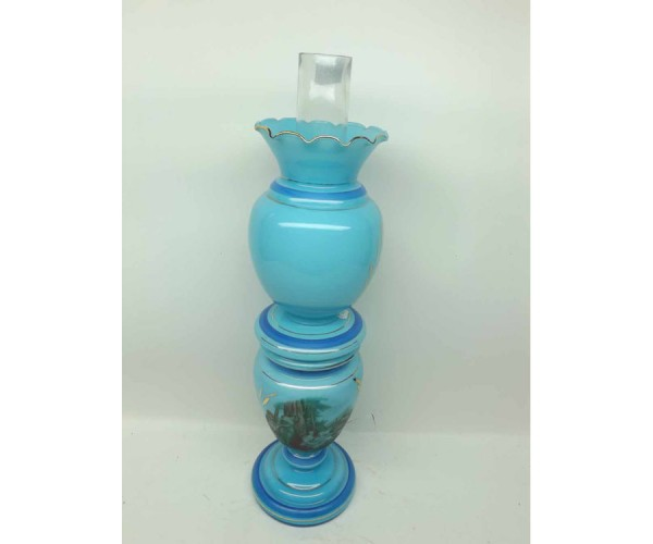 Decorative French glass oil lamp of double gourd form, decorated throughout in pale blue and with central coloured scene, with g