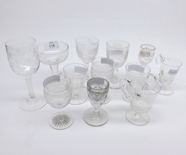 Mixed Lot: 19th century clear glass wares, comprising champagne bowls, wines, spirits and small cups with looped handles, variou