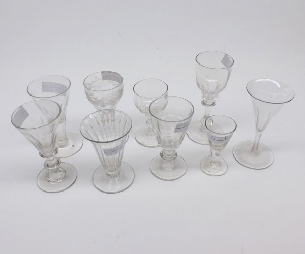 Mixed Lot: 19th century clear glass wares to include sherries, small wines and spirit glasses etc, various designs