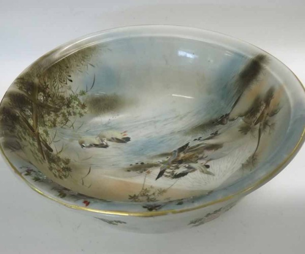 """Decorative large fruit bowl, painted in the oriental manner with scene of river, waterfowl and mountain, 14 ½"""" diameter"""