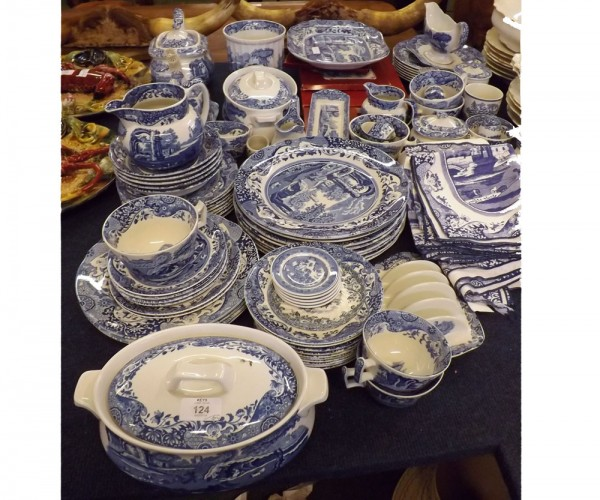 Large quantity Copeland Spode, Blue Italian table wares to include plates, tea wares, toast rack, place mats etc (qty)