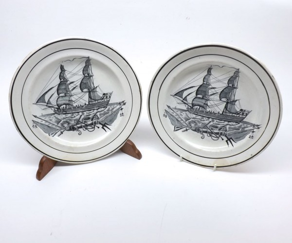 "Pair of 19th Century Swansea Plates, decorated with man of war ships, possibly Dillwyn manufacture, 9 ½"" diameter"