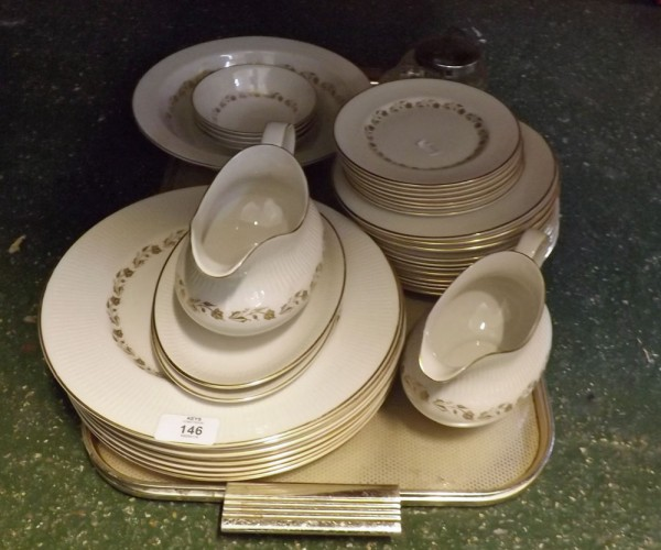 Quantity of Royal Doulton Fairfax table wares, to include dinner plates, gravy boats, side plates, bowls etc