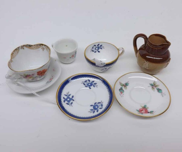 Mixed Lot: Doulton Lambeth miniature stoneware jug; Spode miniature cabinet cup and saucer; plus two further cabinet cups and sa