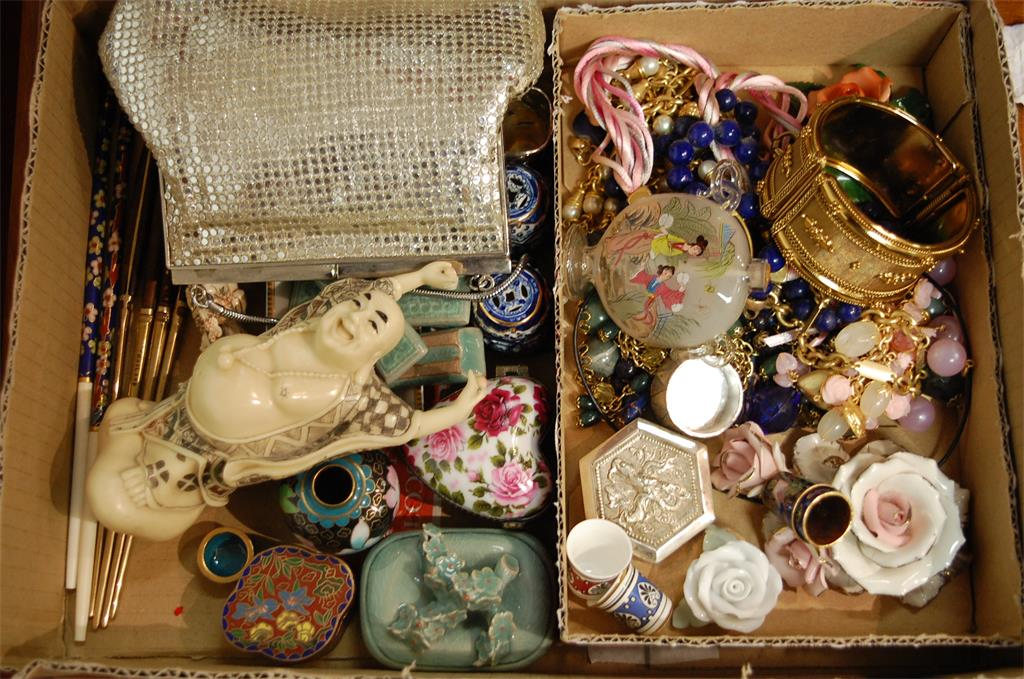 A box of miscellaneous items to include lapis lazuli necklace