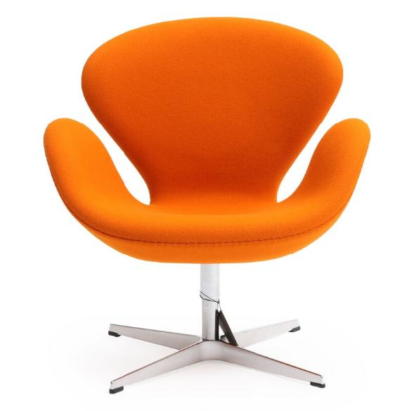 """""""The Swan"""". Lounge chair with orange wool, on aluminum star base"""
